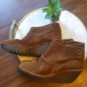 Fly London Yama Wedge Bootie SZ 38 New W/out laces